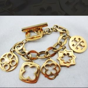 "TORY BURCH GOLD-PLATED ""GEO STAR"""" CHARM BRACELET"